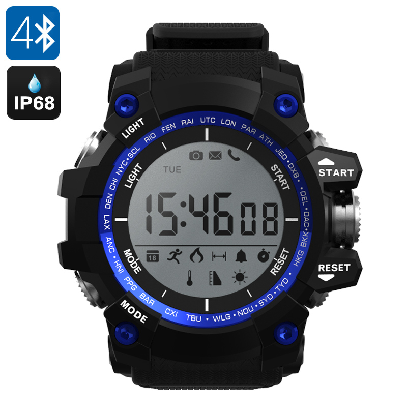 NO.1 F2 Outdoor Bluetooth Watch - App Support, Pedometer, Altimeter, Thermometer, Stopwatch, Call Reminder, IP68 (Blue)