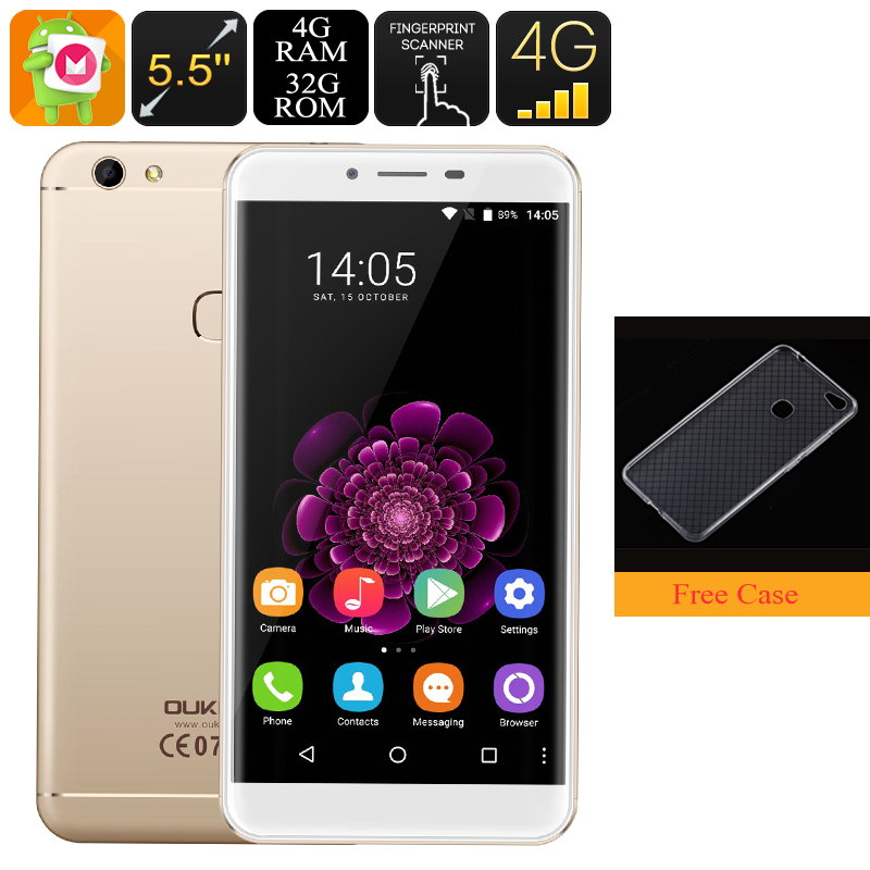 HK Warehouse Oukitel U15S Android Phone - Octa-Core CPU, 4GB RAM, 5.5-Inch FHD, Dual-IMEI, 4G, 13MP Camera (Gold)
