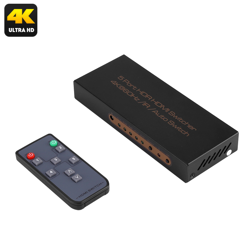 5 To 1 HDMI Switch Box - 4K 3840x2160 Support,  Dolby Digital, 60FPS,  Remote Control