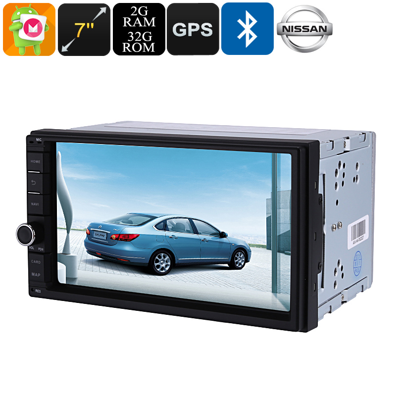 2 DIN Car Media Player - 7 Inch Display, For Nissan Cars, Bluetooth, WiFi, 3G, Octa-Core, 4GB RAM, GPS, HD Display, Android 6.0