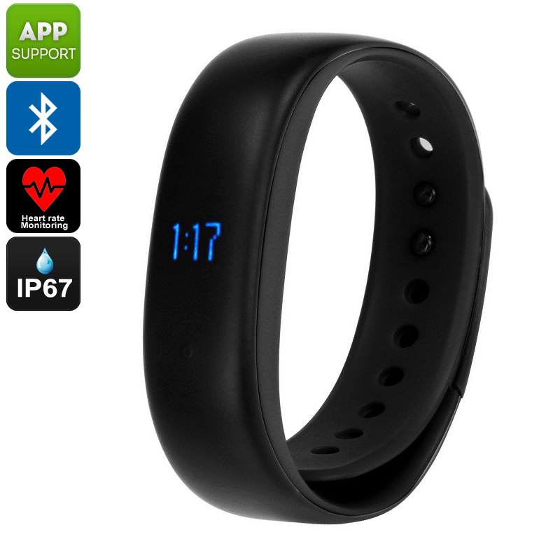 Lenovo HW02 Fitness Tracker Bracelet - Pedometer, Sleep Monitor, Calorie Counter, Heart Rate Monitor, Bluetooth, IP67 (Black)