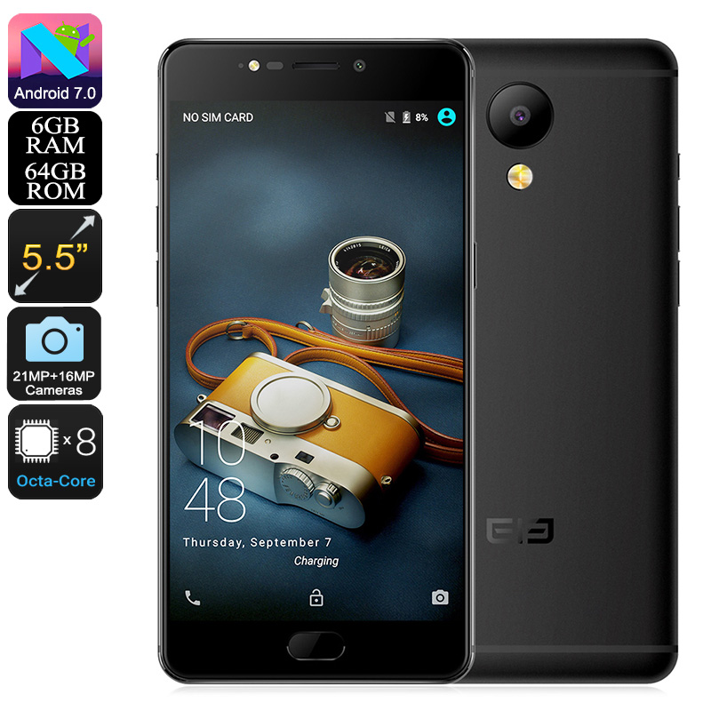 HK Warehouse Elephone P8 Android Phone - Helio P25 CPU, 6GB RAM, Android 7.0, 4G, Dual-IMEI, FHD Display, 21MP Camera (Black)