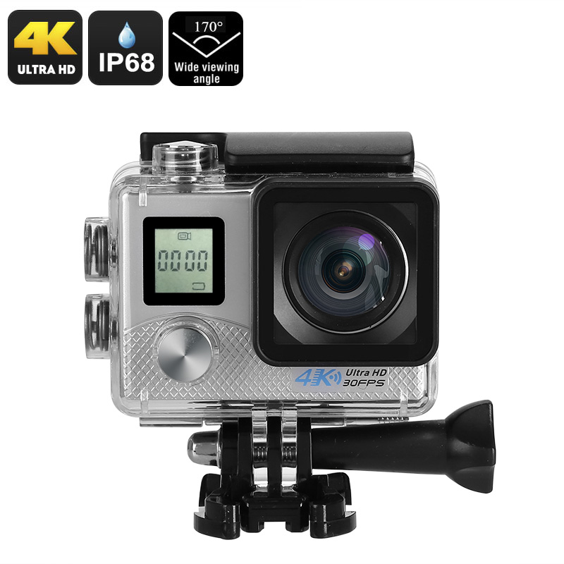 4K Sports Action Camera -  4K Video, 16MP Photo, Sony 16MP 1/3.2-Inch CMOS Sensor, 170-Degree Lens, IP68, WiFi (Silver)