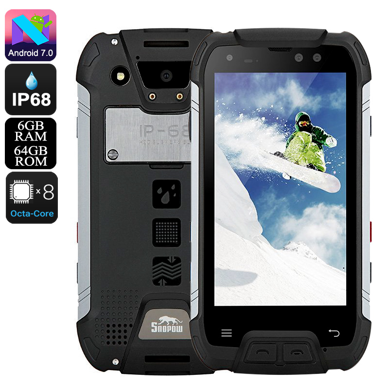 Snopow M10 Rugged Phone - Octa-Core CPU, 6GB RAM, Android 7.0, Dual-IMEI, 5.5-Inch Full-HD, 16MP Cam, IP68, 6500mAh (Black)