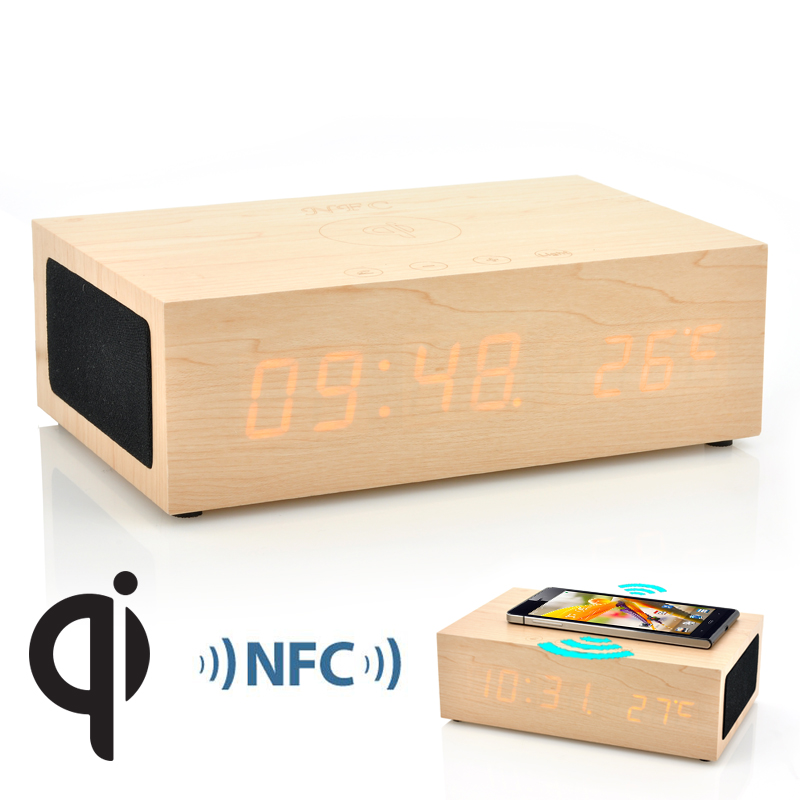 (M) QiBox Wireless Qi Charging Wooden LED Clock (M)