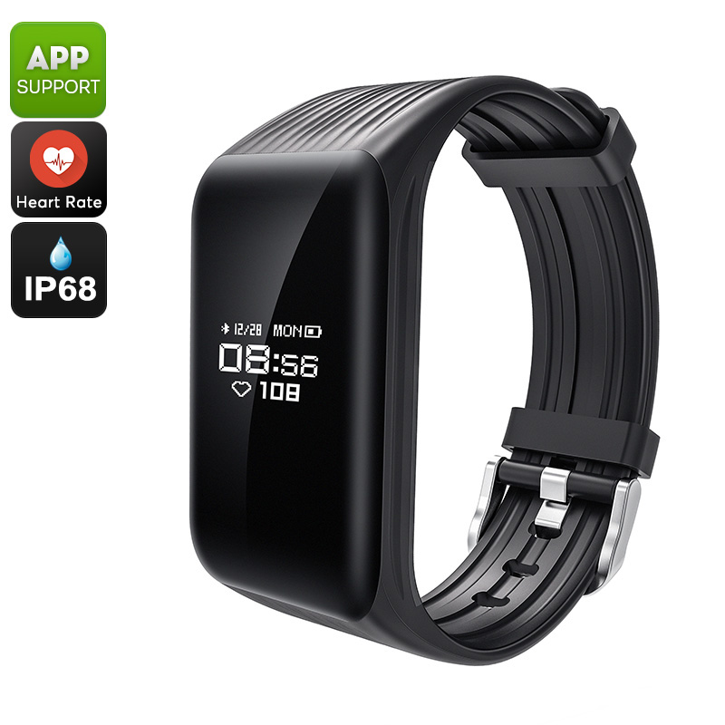 K1 Fitness Tracker Bracelet - Heart Rate, Pedometer, Distance Tracker, Calorie Counter, Sleep Monitor, IP68, App (Black)