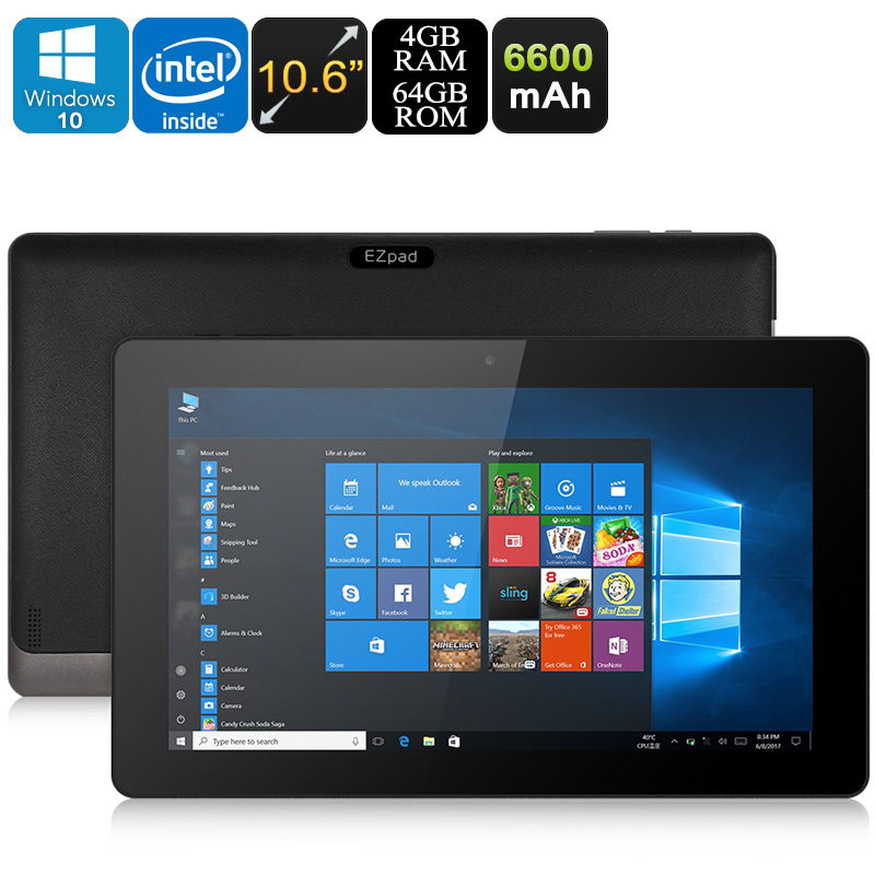 EZpad 4S Pro Windows Tablet PC - Licensed Windows 10, Intel Cherry Trail CPU, 4GB RAM, 10.6-Inch Display, 1080p, Bluetooth, WiFi