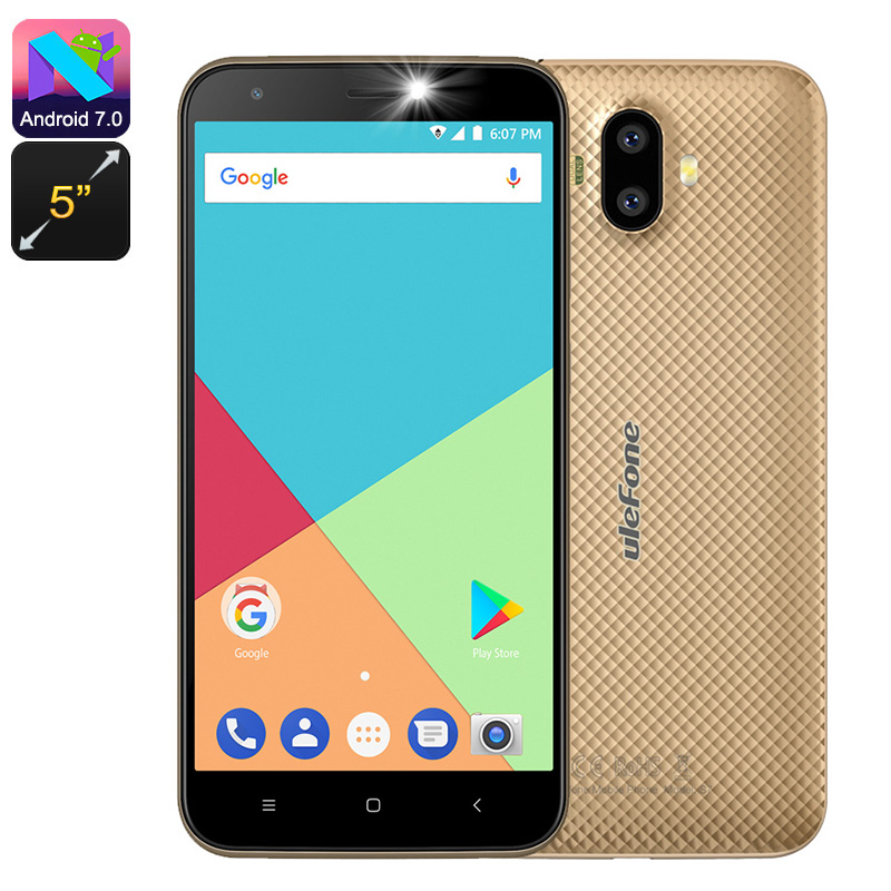 HK Warehouse Ulefone S7 Android Smartphone - Quad-Core CPU, Dual-IMEI, 5-Inch Display, 3G, Android 7.0 (Gold)