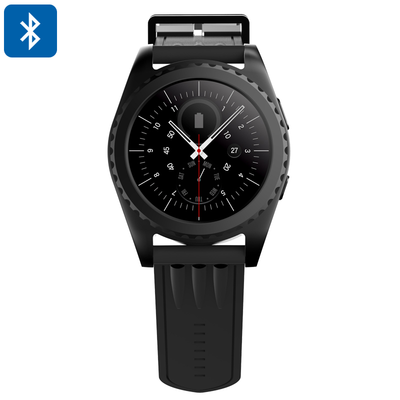 Bluetooth Smart Watch - Phone Calls, Messages, Pedometer, Heart Rate Monitor, 1.2 Inch Touch Screen, Sleep Monitor (Black)