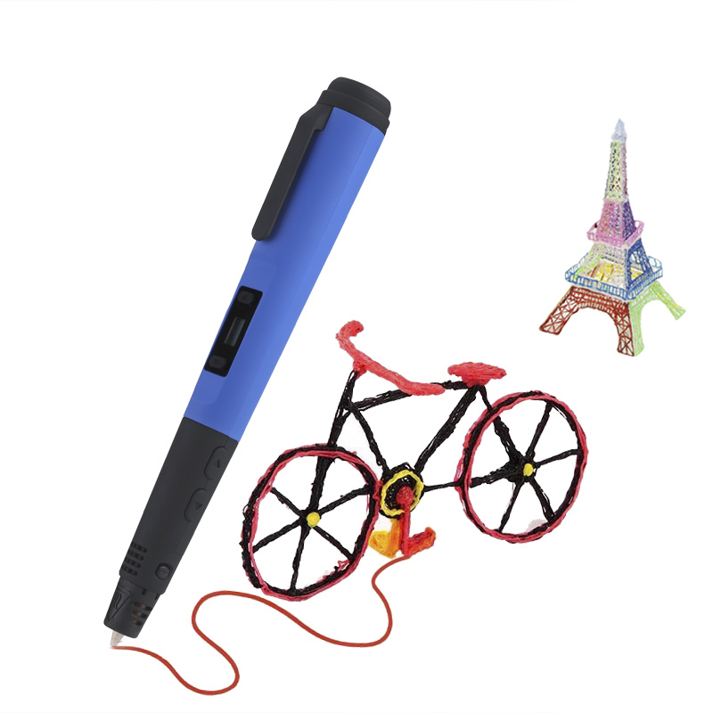 Intelligent 3D Printing Pen - For 3D Drawing + Arts + Crafts Printing, Intelligent Temperature Control, 8 Printing Speeds (Blue)