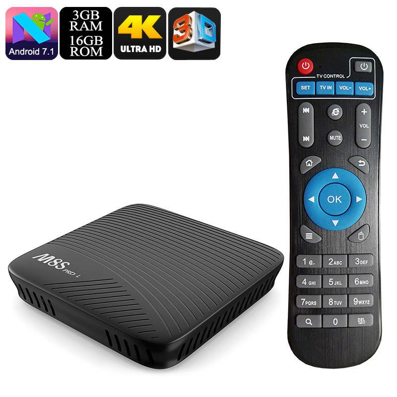 Mecool M8S Pro L Android TV Box - Octa Core CPU, 3GB RAM, Android 7.1, Airplay, Miracast, DLNA, Kodi 17.3, 16GB Memory