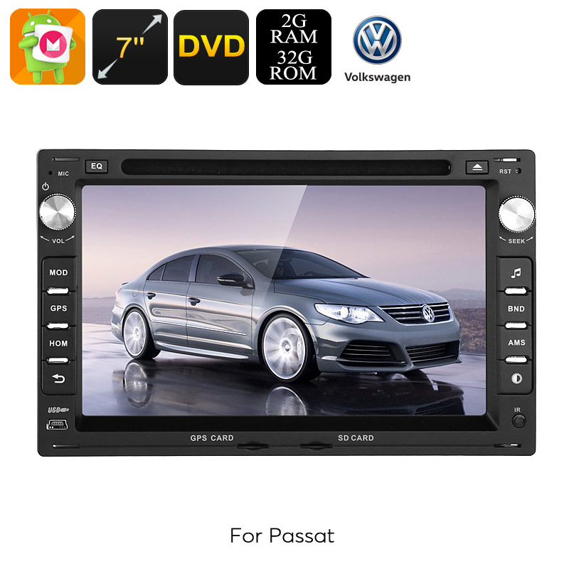 2 DIN Car DVD Player - For Volkswagen Passat (B5), Android 6.0, Octa-Core CPU, 7 Inch HD Display, GPS, WiFi, 3G, CAN BUS