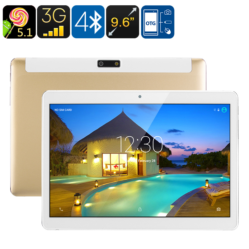3G Android Tablet PC - Android 5.1, Dual-IMEI, Google Play, OTG, Quad-Core CPU, 9.6-Inch IPS Display, 4500mAh