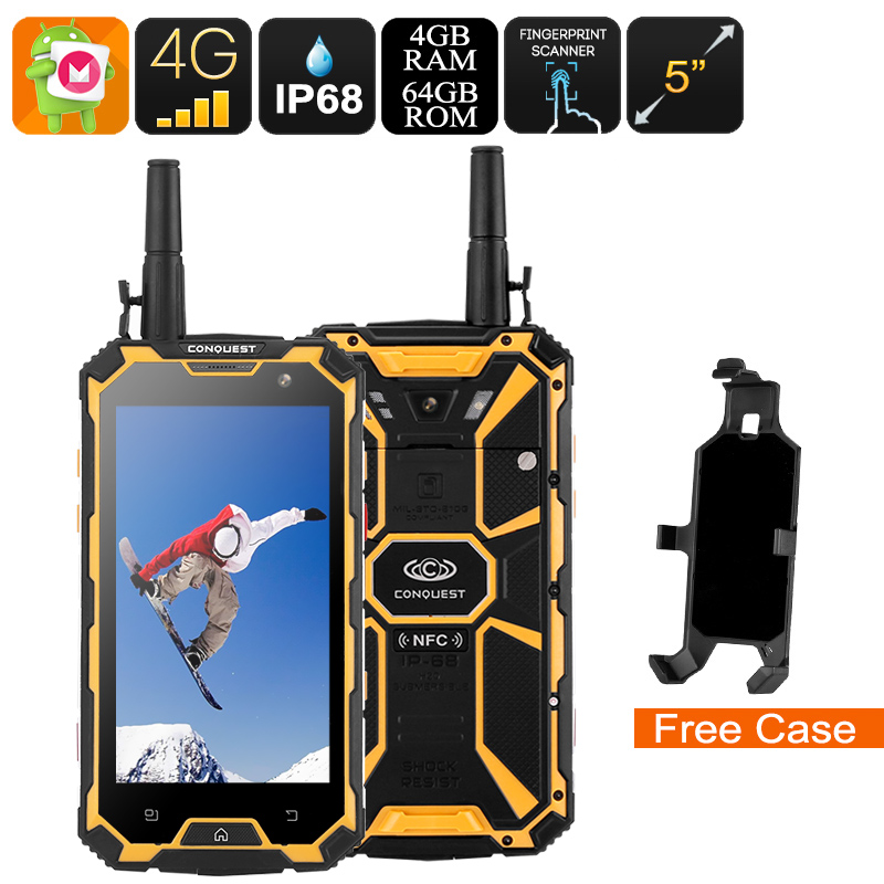 Conquest S8 Rugged Phone 2017 Edition - 4G, GPS, NFC, Fingerprint Scanner, IR, Android 6.0, Octa Core CPU, 4GB RAM (Yellow)