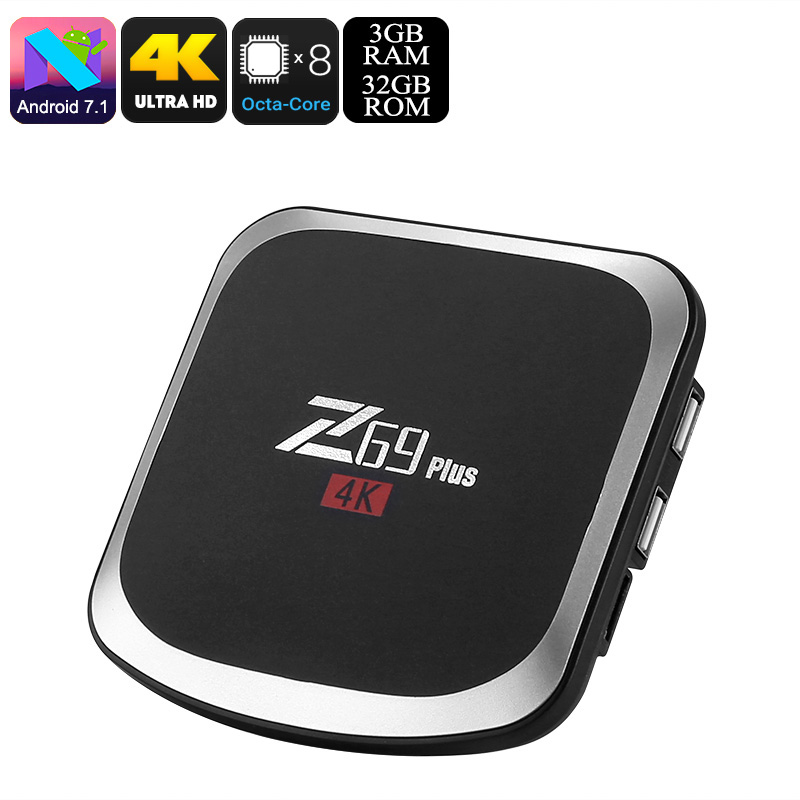 Z69 Plus Android TV Box - Android 7.1.2, Octa-Core, 3GB RAM, 4K Support, 3D Media Support, WiFi, Bluetooth 4.1, Google Play