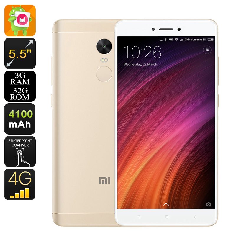 Android Smartphone Xiaomi Redmi Note 4X - Dual-IMEI, 4G, SnapDragon 625 CPU, 3GB RAM, 2GHz, 5.5 Inch FHD, Fingerprint (Gold)