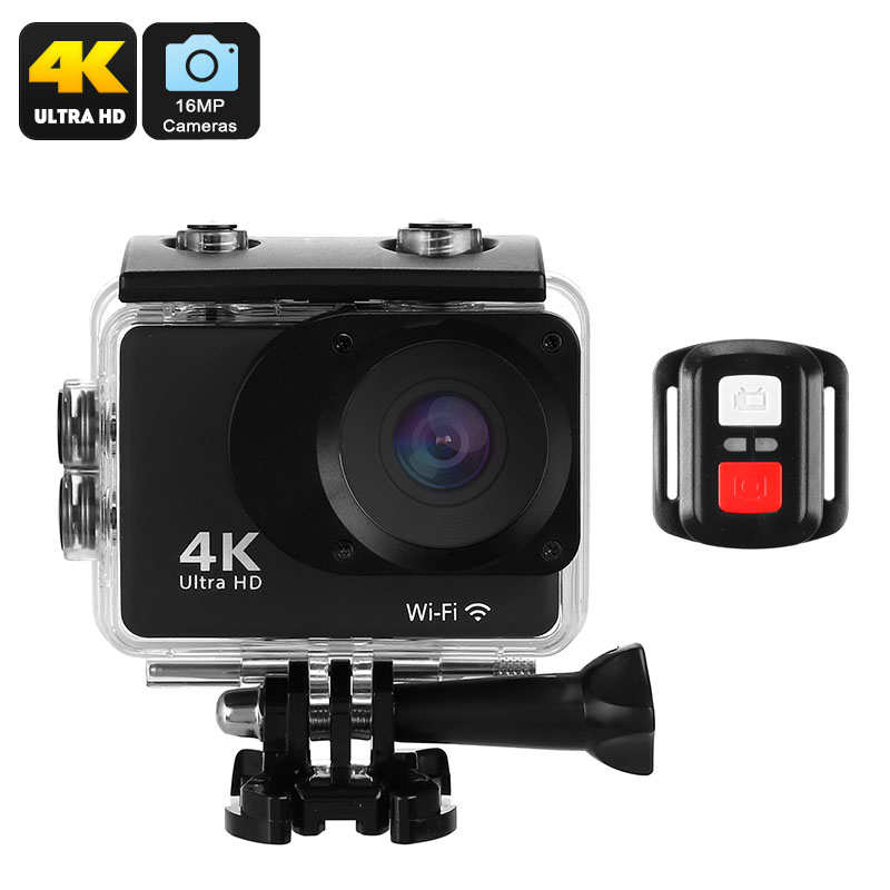 K2T Sports Action Camera - 4K Video, 150-Degree Lens, 2-Inch Display, 16MP Sensor, WiFi, App Support, IP68