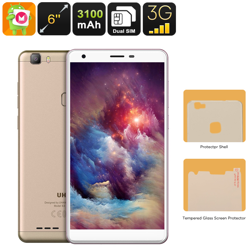 Uhans S3 Android Smartphone - Android 6.0, Dual-IMEI, 6-Inch HD Display, 3G, Bluetooth, Google Play, Quad-Core CPU, 3100mAh
