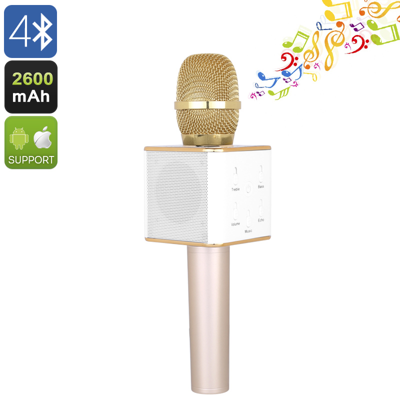 Q7 Bluetooth Karaoke Microphone - Bluetooth 4.0, Twin Speakers, Echo + Reverberation Effects, 2600mAh Battery (Gold)