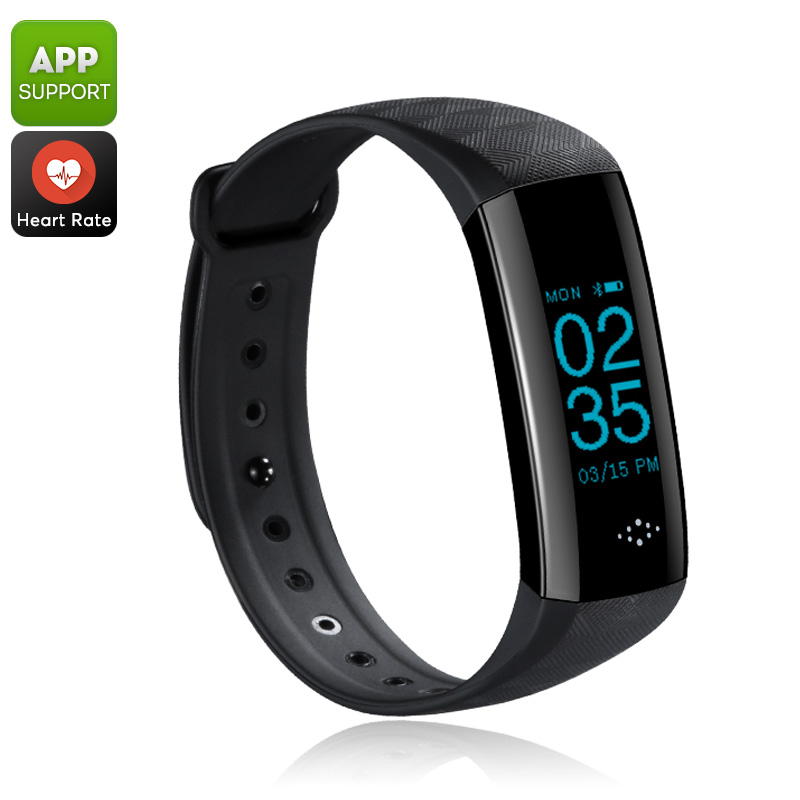 Fitness Tracker Bracelet - Bluetooth 4.0, IP67, Pedometer, Distance Counter, Heart Rate, Blood Pressure, Sleep Monitor (Black)