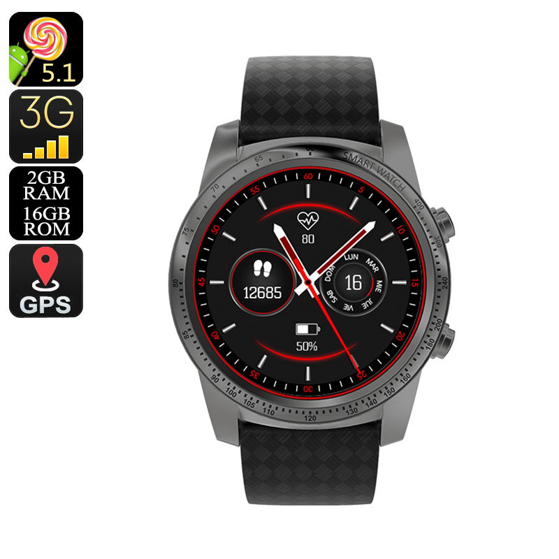 AllCall W1 Smart Watch Phone - Quad-Core CPU, 2GB RAM, 1 IMEI, Android OS, Bluetooth 4.0, WiFi, 3G, Pedometer (Grey)