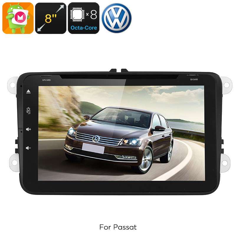 Dual-DIN Car Media Player - For Volkswagen Passat, Android 6.0, WiFi, GPS, CAN BUS, Octa-Core, 4GB RAM, HD Display, DVD