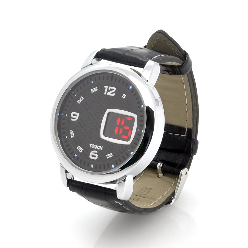 (M) LED Touch Watch w/ Leather Strap - Checkers (M)