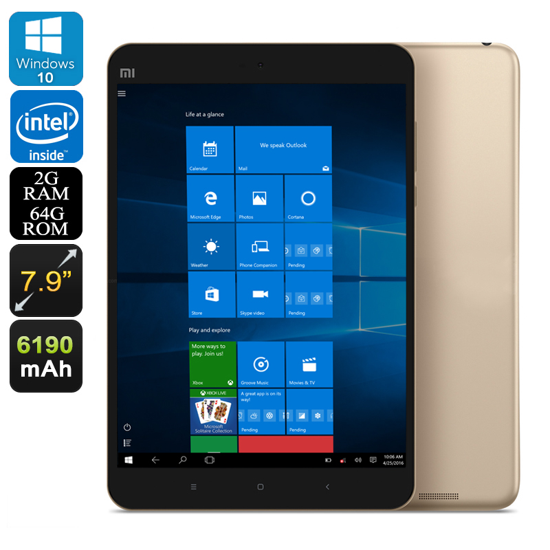 Xiaomi Mi Pad 2 Windows Tablet - Windows 10, Quad-Core CPU, 2GB RAM, OTG, Dual-Band Wi-Fi, 64GB Memory, 7.9-Inch Display (Gold)