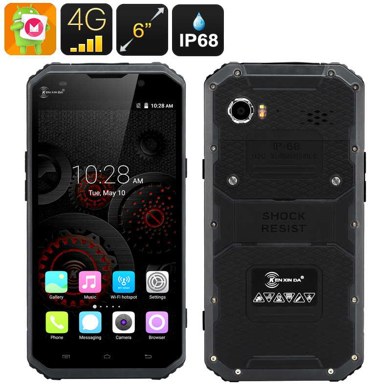 HK Warehouse KEN XIN DA PROOFINGS W9 Rugged Smartphone - Android 6.0, 4G, 6 Inch FHD Screen, IP68, Dual SIM, 2GB RAM (Gray)