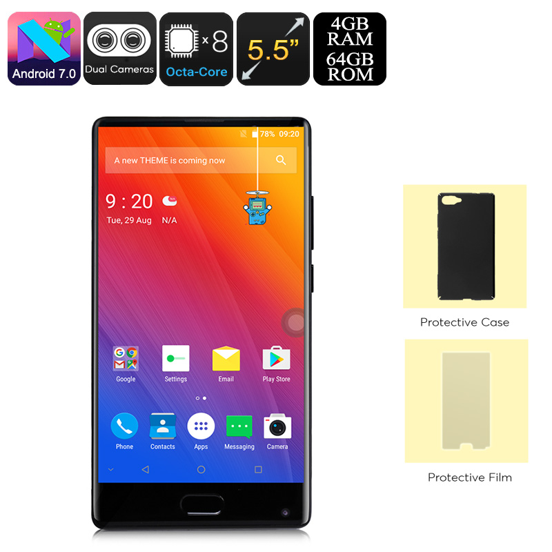 HK Warehouse Doogee Mix Android Phone - Android 7.0, Octa-Core CPU, 4GB RAM, 5.5-Inch Small Bezel Display, Dual-IMEI, 4G (Black)