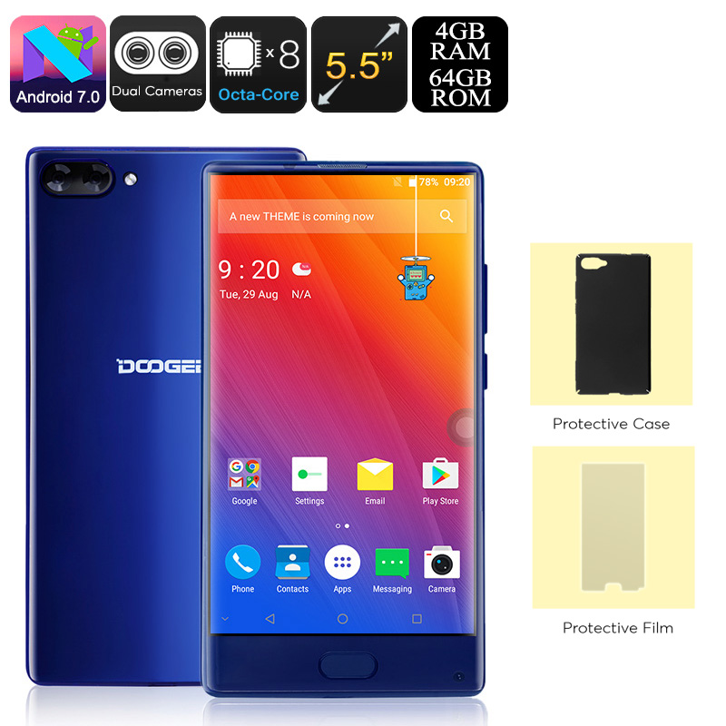 HK Warehouse Doogee Mix Android Phone - Octa-Core CPU, Android 7.0, 4GB RAM, Dual-IMEI, 5.5-Inch Small Bezel Display, 4G (Blue)
