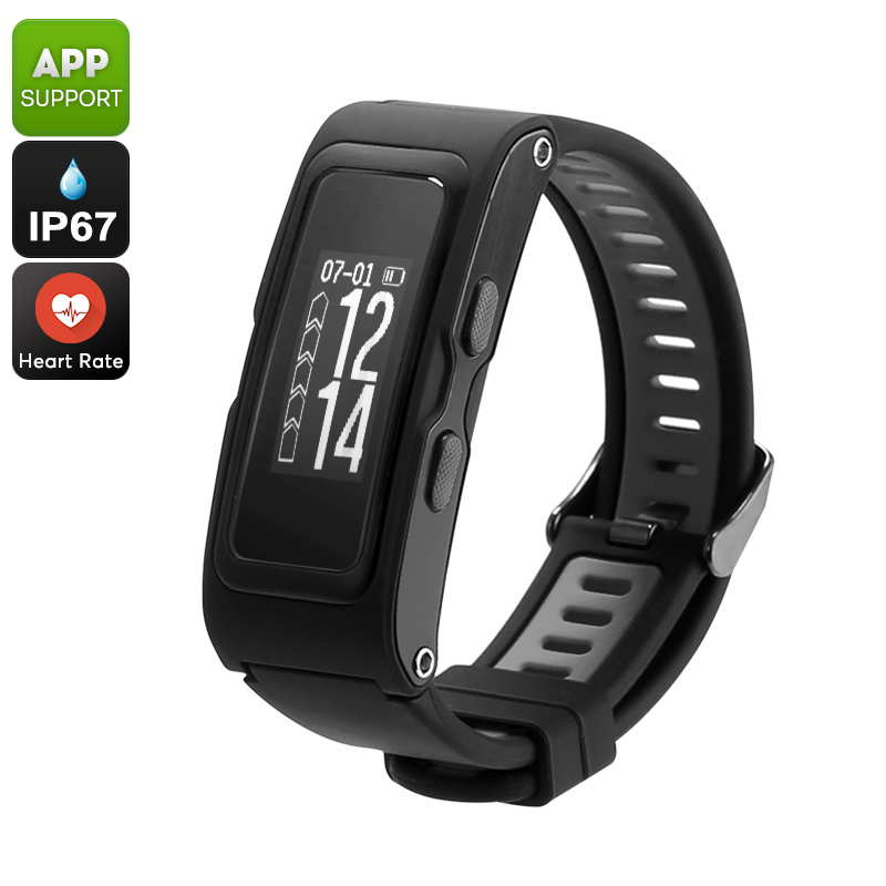 Fitness Tracker Bracelet - Real-Time Temperature, Pressure, Altimeter, Pedometer, Heart Rate, GPS, IP67 Waterproof (Black)
