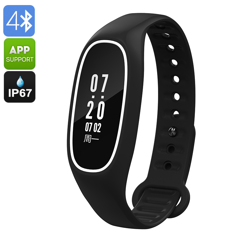 Fitness Tracker Bracelet DB01- Swimming Feature, IP67, Heart Rate, Pedometer, Blood Pressure, Calorie Counter, App (Black)