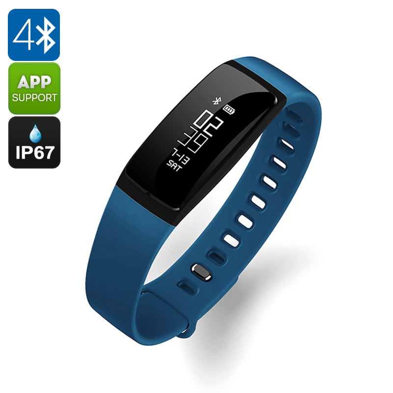 Ordro S11 Smart Sports Wristband - IP67, Pedometer, HR Monitor, Calorie Counter, Blood Pressure Test, Sleep Monitor (Blue)