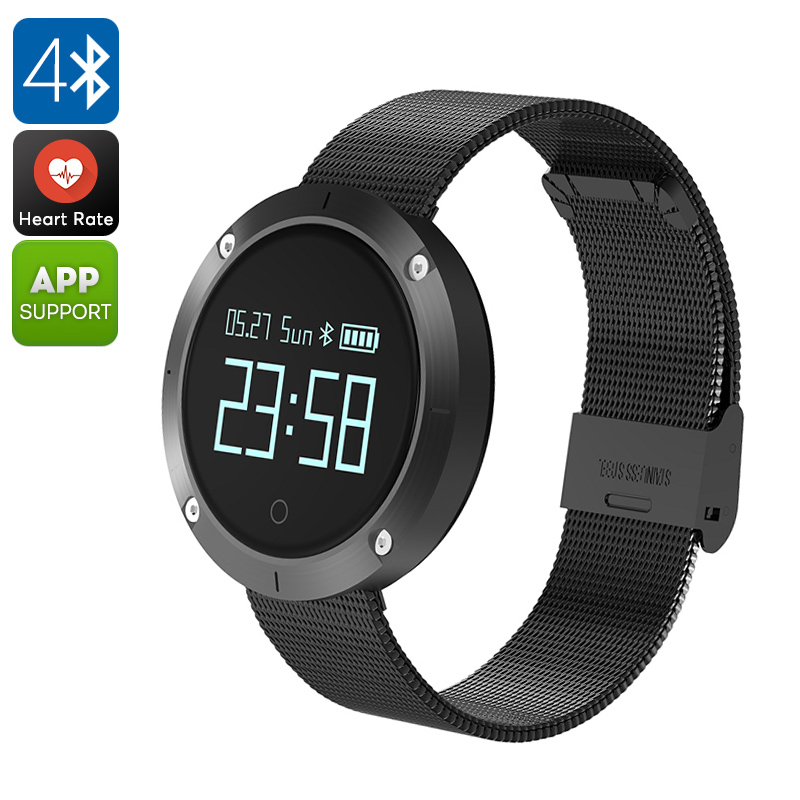 UNIK 2 Bluetooth Watch - Blood Pressure, Heart Rate, Pedometer, Calorie Counter, Sleep Monitor, Sedentary Reminder, IP68 (Black)