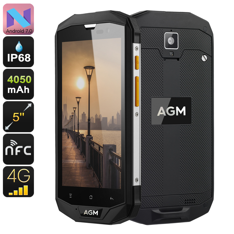 AGM A8 Rugged Android Phone - Android 7.0, Dual IMEI, 4G, Quad-Core CPU, 3GB RAM, 5 Inch IPS Display, 13MP Cam, OTG, NFC
