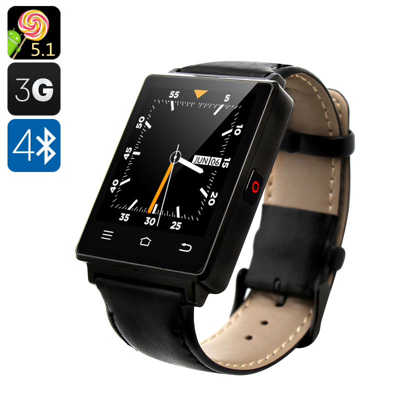 NO.1 D6 3G Smart Watch - Android 5.1, 3G, Bluetooth 4.0, Wi-Fi, GPS, Pedometer, Barometer (Black)