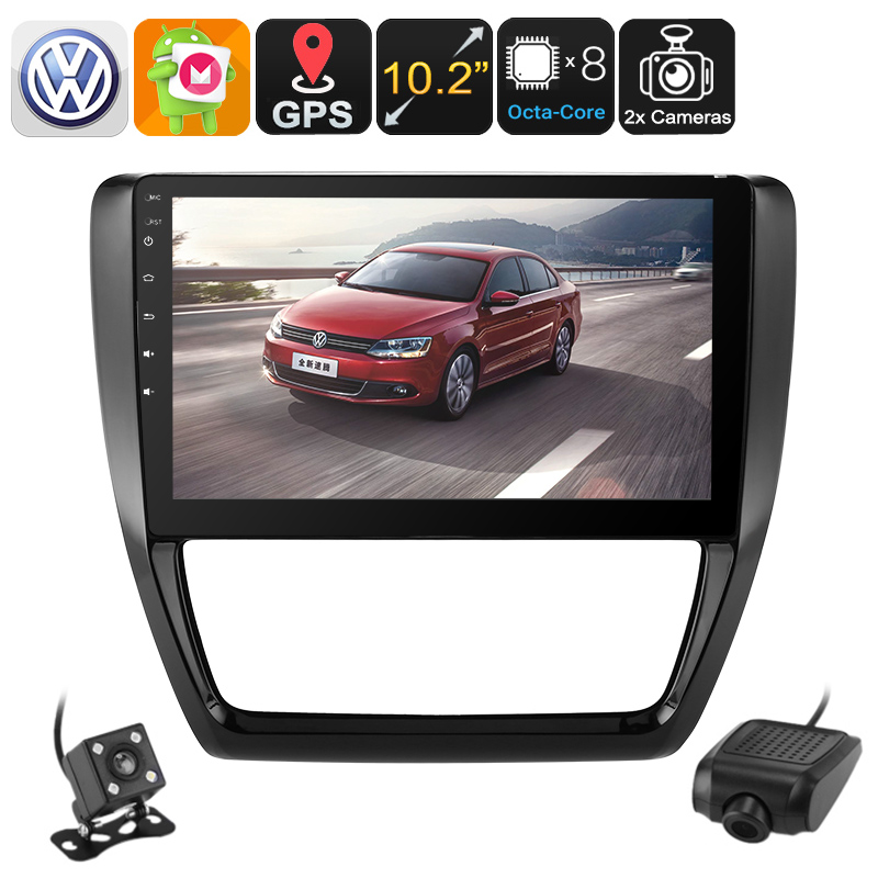 1 DIN Car Stereo - For Volkswagen Jetta, Car DVR, Parking Camera, 10.2 Inch Disp