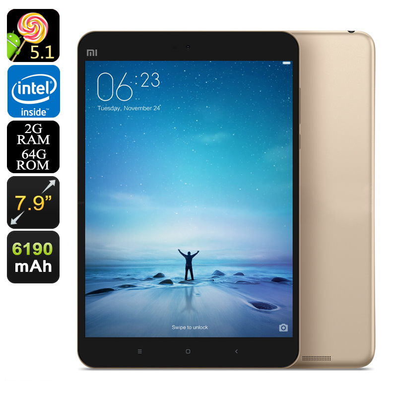 Xiaomi Mi Pad 2 Android Tablet - 7.9 Inch Display, Quad-Core CPU, 64GB Memory, 6190mAh, Dual-Band Wi-Fi, 2GB RAM (Gold)