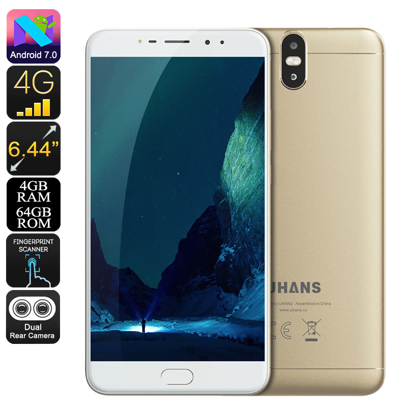 Uhans Max 2 Android Phone -  Android 7.0, Octa-Core CPU, 4GB RAM, 6.44-Inch Display, 1080p, 4300mAh, 13MP Dual-Cam (Gold)