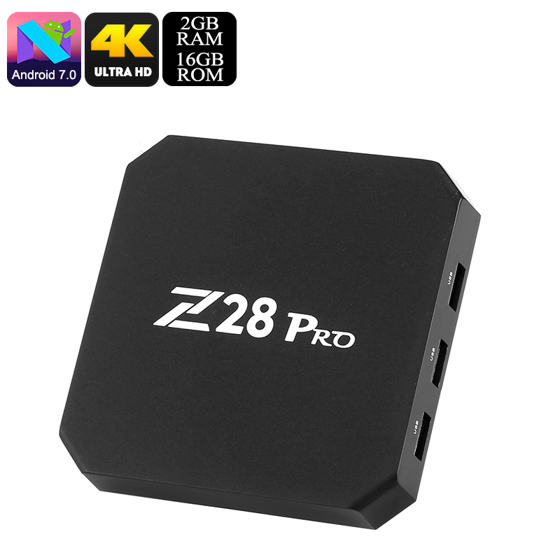 Z28 Pro Android TV Box - 4K Support, Android 7.1, Bluetooth, Kodi TV, Google Play, Quad-Core CPU, 2GB RAM, WiFi