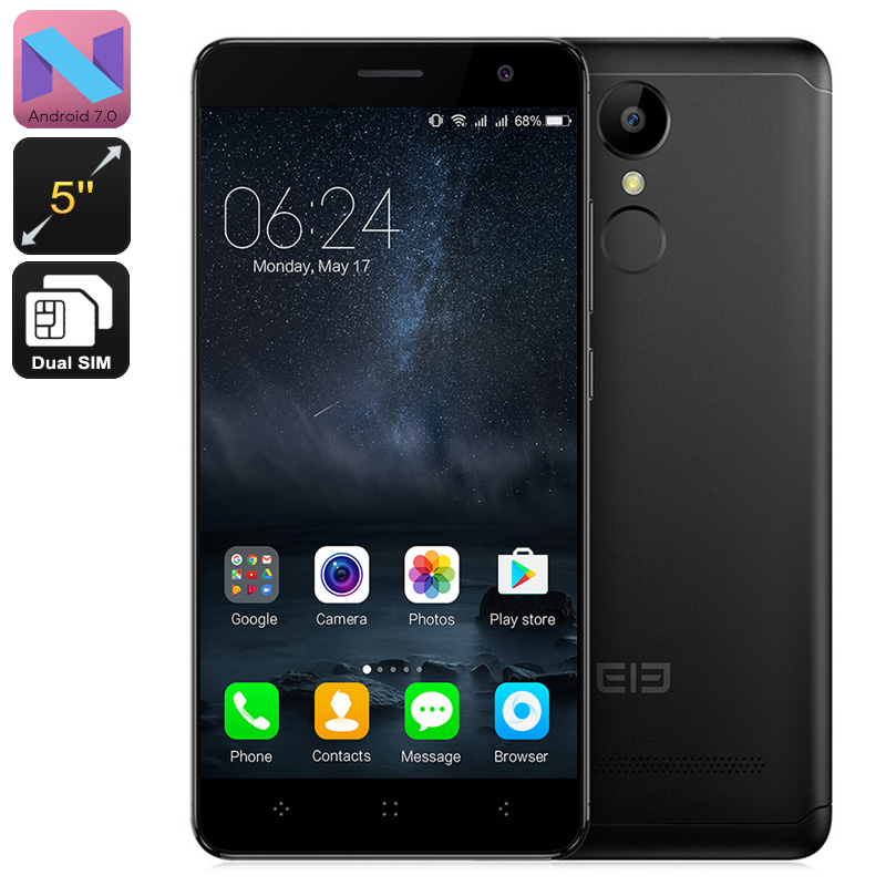 HK Warehouse Elephone A8 Android Smartphone - Dual-IMEI, 3G, Quad-Core, Android 7.0, 5-Inch, 1800mAh Battery (Black)