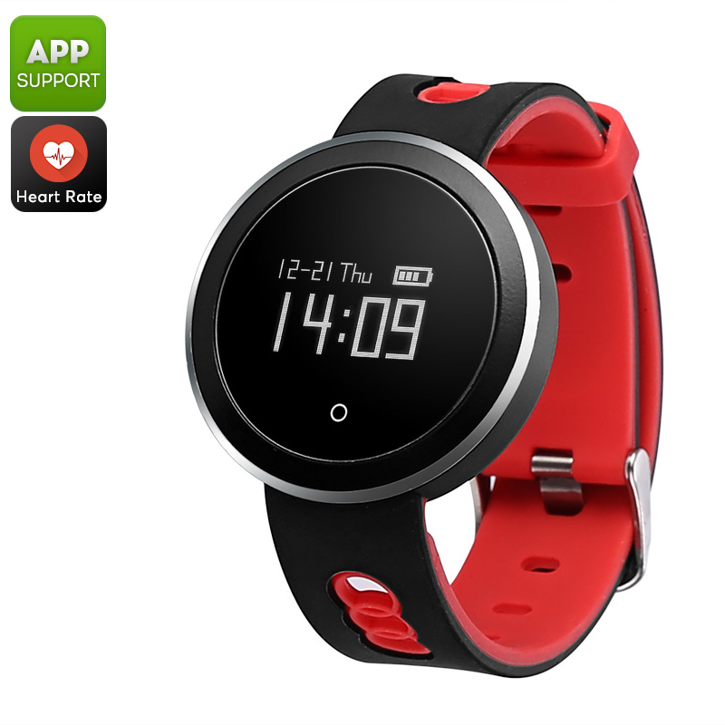 Bluetooth Sports Tracking Watch -  Blood Pressure, Blood Oxygen, Sleep Monitoring, Pedometer, Notifications (Red)