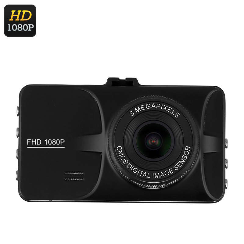 1080p Car DVR - 3-Inch Display, 140-Degree View Angle, G-Sensor, Motion Detection, 12MP Pictures, Full-HD Video