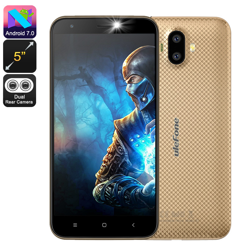 HK Warehouse Ulefone S7 Android Phone - Quad-Core, 5-Inch Display, Android 7.0, 2GB RAM, Dual-IMEI, 3G, 8MP Cam (Gold)