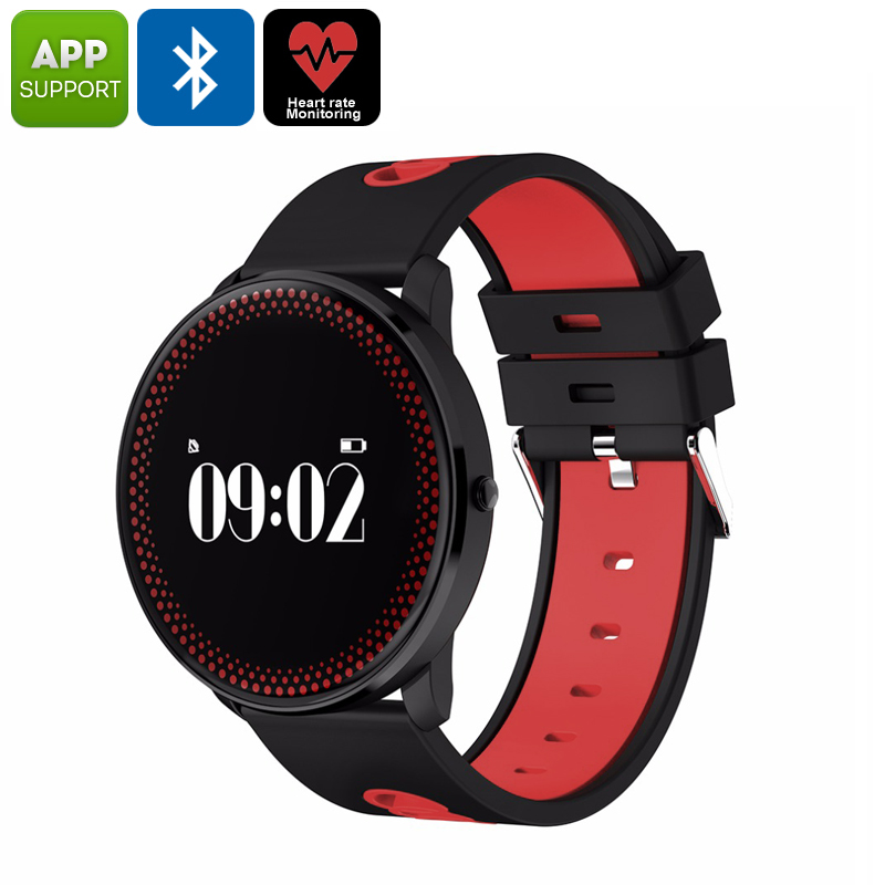 ORDRO CF007 Bluetooth Watch - Heart Rate Monitor, Blood Pressure, Calories Burned, Pedometer, App Support, Bluetooth (Red)