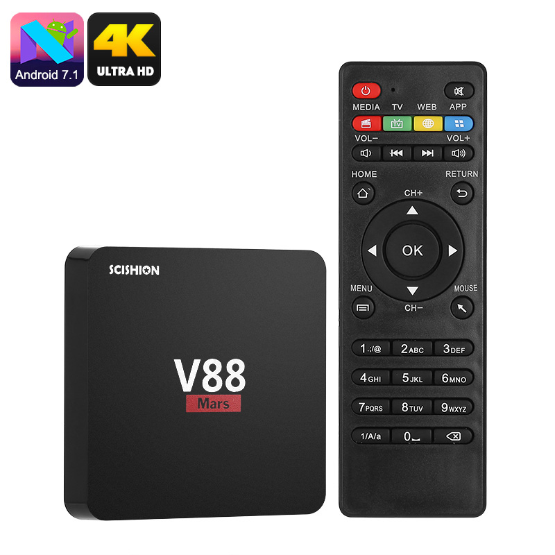 Scishion V88 Mars Android TV Box - Android 7.1, Quad-Core, 4K Support, WiFi, Miracast, Google Play, Kodi TV