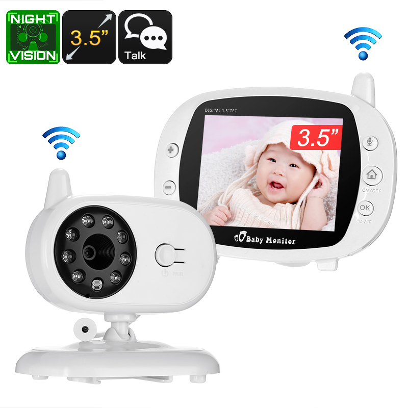 Wireless Baby Monitor - 3.5 Inch Display, Temperature Monitoring, Two-Way Audio, 3M Night Vision, IR Cut, 2.4GHz, Play Songs