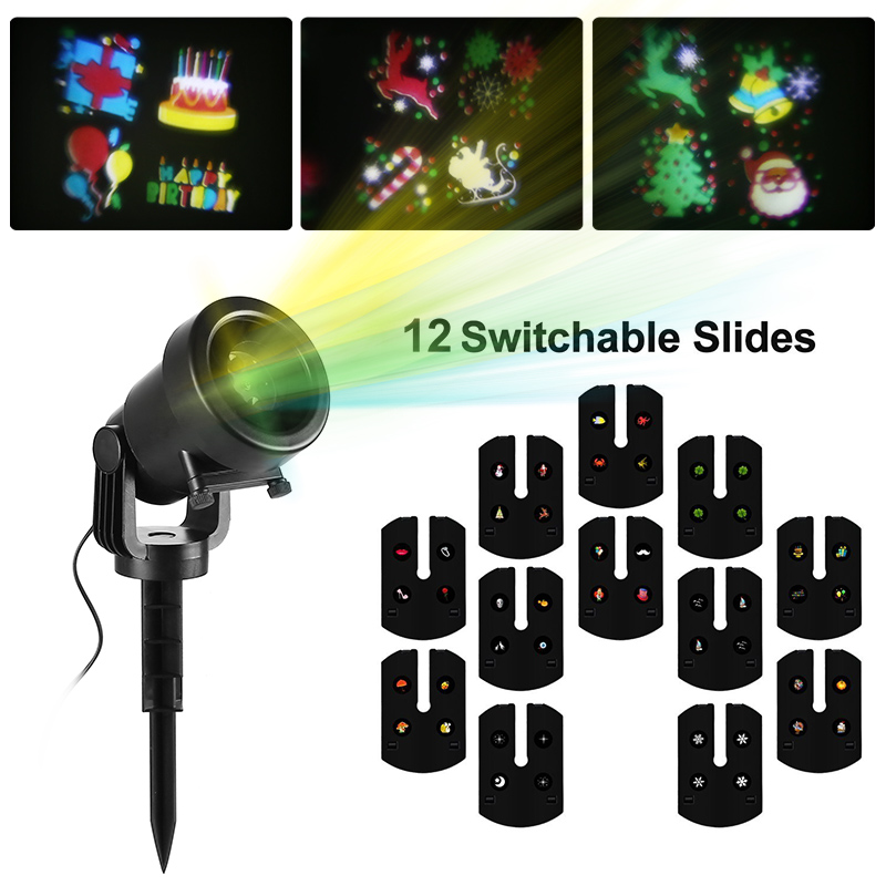 Holiday Light Projector - 12 Light Patterns, IP44 Waterproof, 100 Square Meter Projection Coverage, Remote Control
