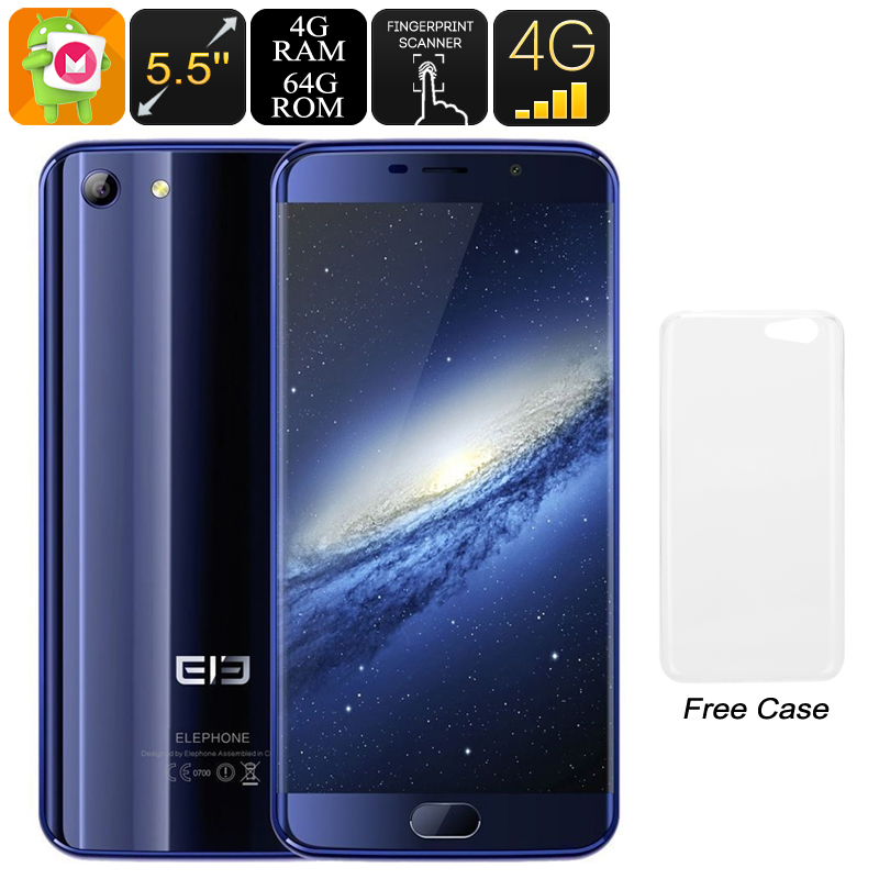 HK Warehouse Elephone S7 Android Phone - Android 7.1, Deca-Core CPU, 4GB RAM, Dual-IMEI, 4G, 5.5-Inch FHD, 13MP Camera (Blue)